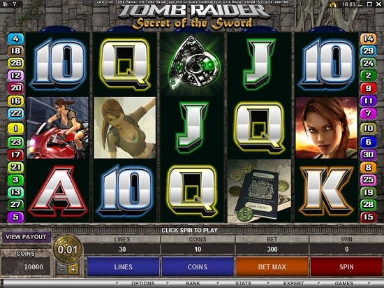 Tomb Raider Secret of the Sword Online Video Slot Game